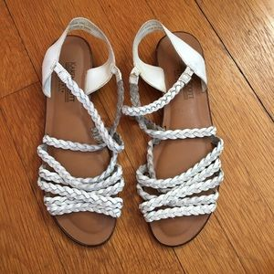 Vintage White Leather Braided Flat Sandals